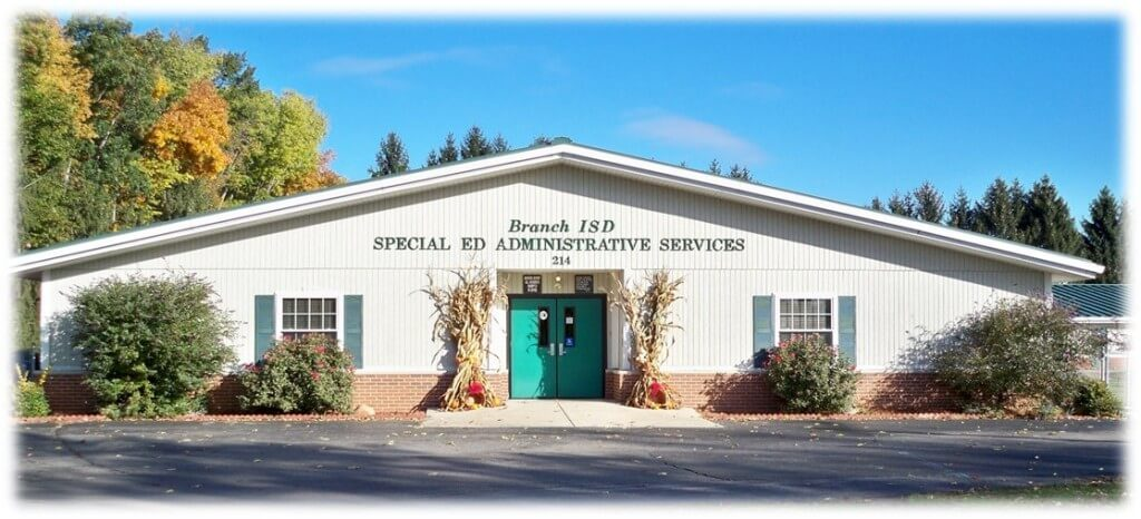 Special Education building entrance on a sunny fall day.